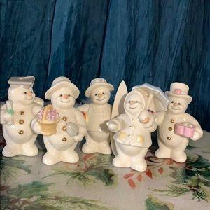 Lenox 2000 snowman 5 piece porcelain figurines